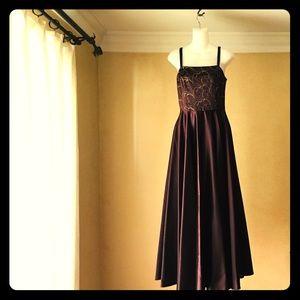 Jessica McClintock dark brown gown full length